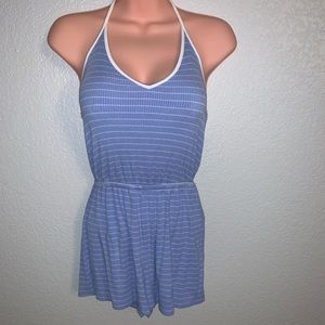 Blue and white striped romper